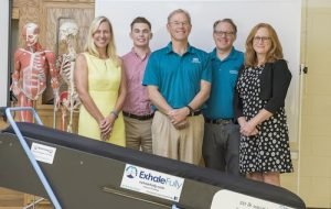 The COPD research team includes, from left to right, Justine Reel, David Giordano, Robert Boyce, Jared Kerr and Susan Sinclair. PHOTO BY: BRADLEY PEARCE/UNCW